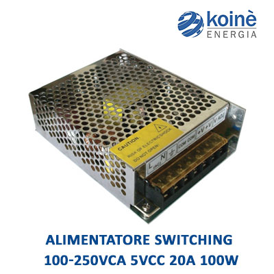 alimentatore switching 100 250VCA 5VCC 20A 100W