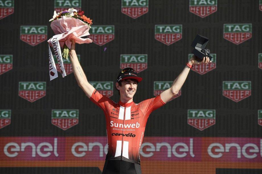 Chad Haga dopo la vittoria della cronometro Verona-Verona.