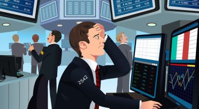35291947 – illustration of stock trader in stress looking at the computer