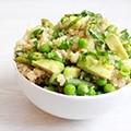 Quinoa salade met erwtjes en asperges