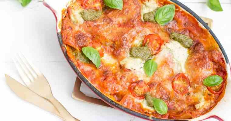 Lasagne met pesto & kerstomaatjes