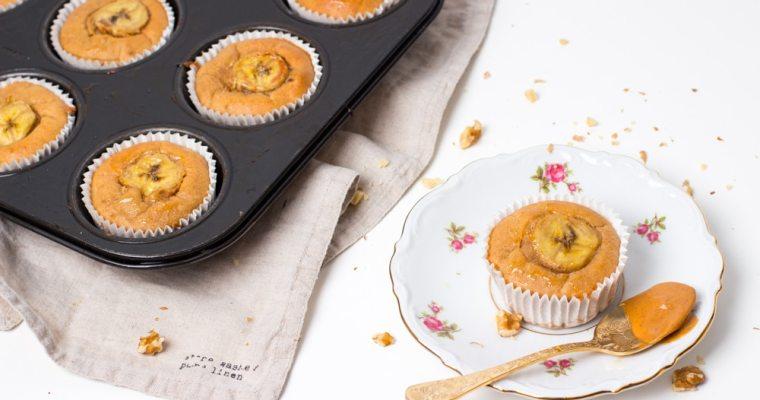 Gezonde banaanmuffins met pindakaas