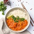 Zachte pompoencurry met rijst