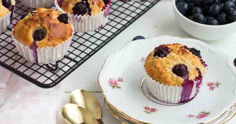Muffins met blauwe bessen & yoghurt