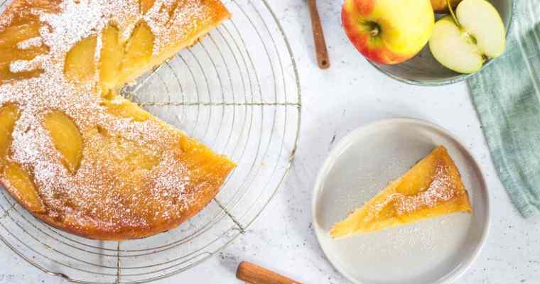 Upside down cake met appel