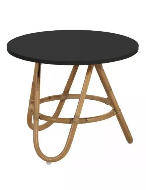 table basse en rotin diabolo plateau noir