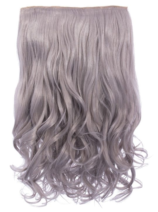 Selena 1 Weft Curly 20 Hair Extensions In Silver Grey