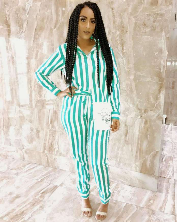 Who What Wear: Juliet Ibrahim Wows In A Striped Pyjamas By Joe Pagatanga 2