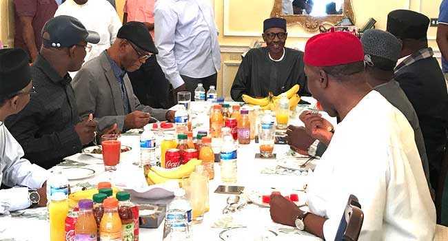 Muhammadu Buhari Receives APC Governors In London 1