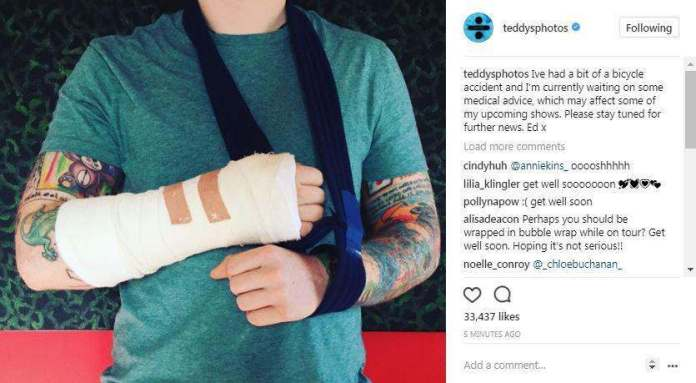 Singer Ed Sheeran Breaks His Arm After Being Knocked Off His Bicycle By A Car In London 1