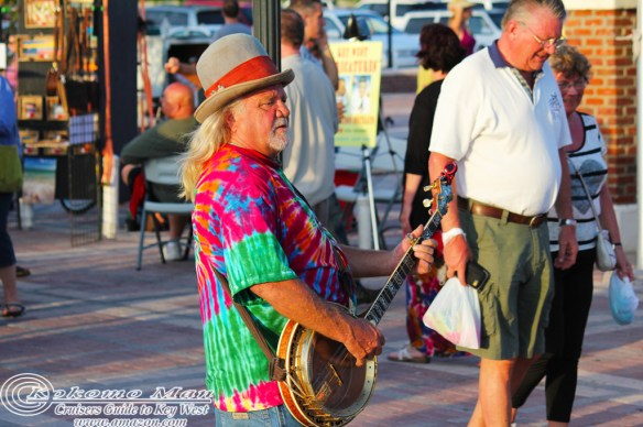 "A minstrel at Mallory Square for the sunset ""celebration"""