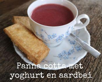 Panna cotta met yoghurt en aardbeiengelei