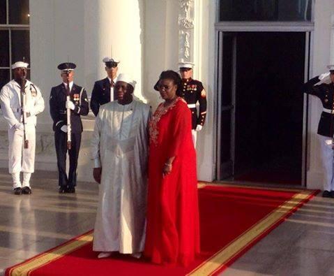 Le Président Macky Sall et la Première Dame, Marieme FAYE SALL lors du dîner à la maison blanche