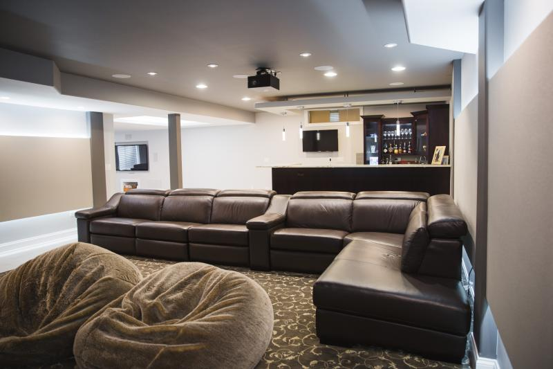 living room theater drink menu decorate small sectional sofa basement galleries in frankfort chicagoland kole digital contemporary with bar and