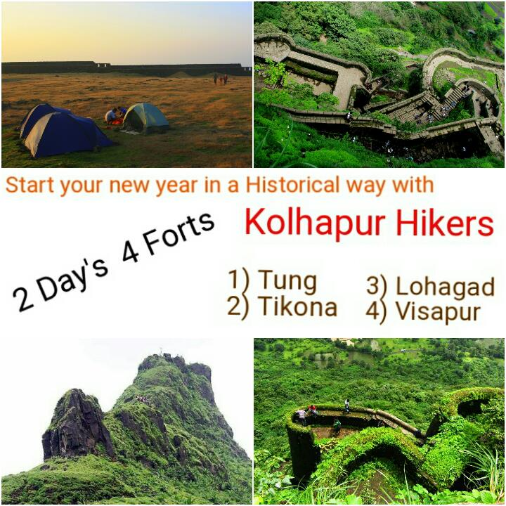 Kolhapur Hikers New Year Spl Trek Visapur,Lohagad,Tikona,Tung
