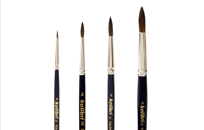 brushes for watercolors, made of squirrel mixture, by kolibri