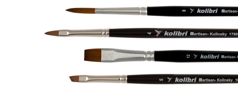 Synthetic brushes for watercolours