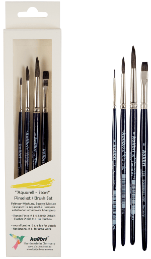 paint brush kit for watercolours and tempera