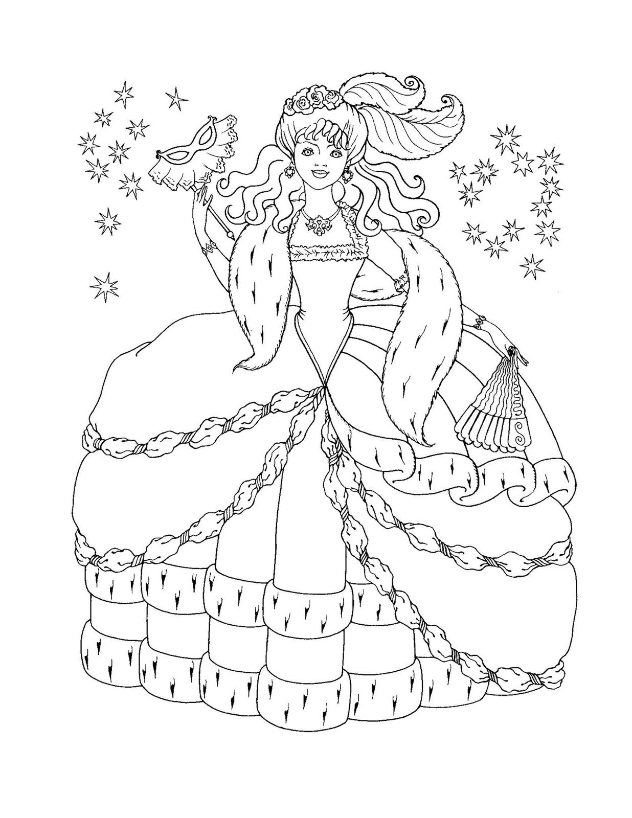 DLA DZIEWCZYN Kolorowanki Księżniczki: KOLOROWANKA