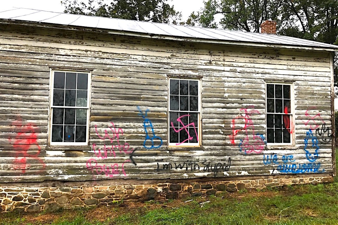 The Ashburn Colored School building in Loudoun County was vandalized Friday night. (Photo by Deep Sran)