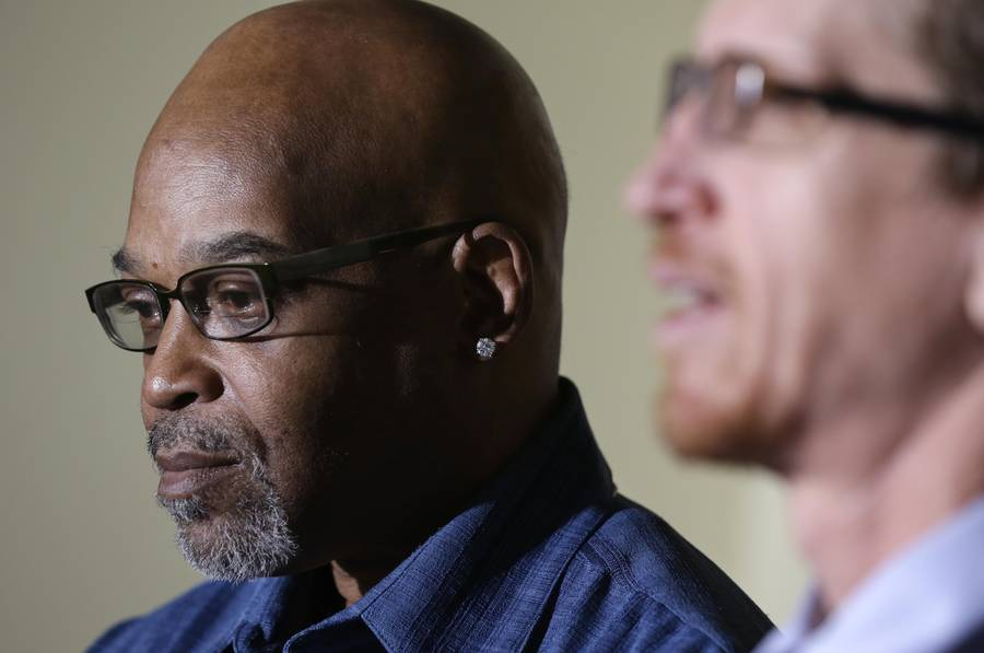 Alton Logan (left) spent 26 years in prison for a murder he did not commit, based on a confession coerced out of him by Jon Burge and his officers.Source: M. Spencer Green/AP