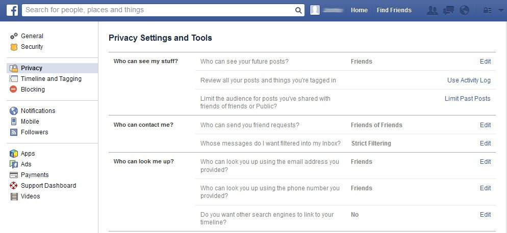 Image result for facebook settings