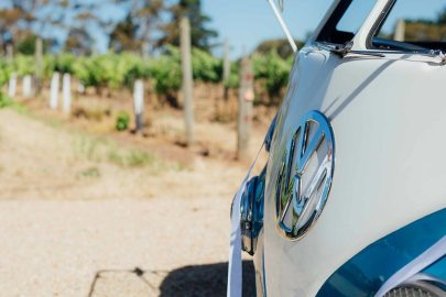 Close Up Shot of Restored 1960s Volkswagen Kombi Van in Vineyards on Wedding Day in South Australia, VW Kombi Van Photo Gallery