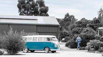 Vintage Wedding Car for Hire VW Kombi Van with Groom walking towards Van in VW Kombi Van Photo Gallery