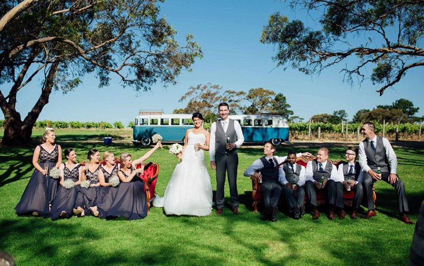 Bridal Party in front of 1960s Volkswagen Kombi Vans by Kombi Cruise in South Australian Vineyards