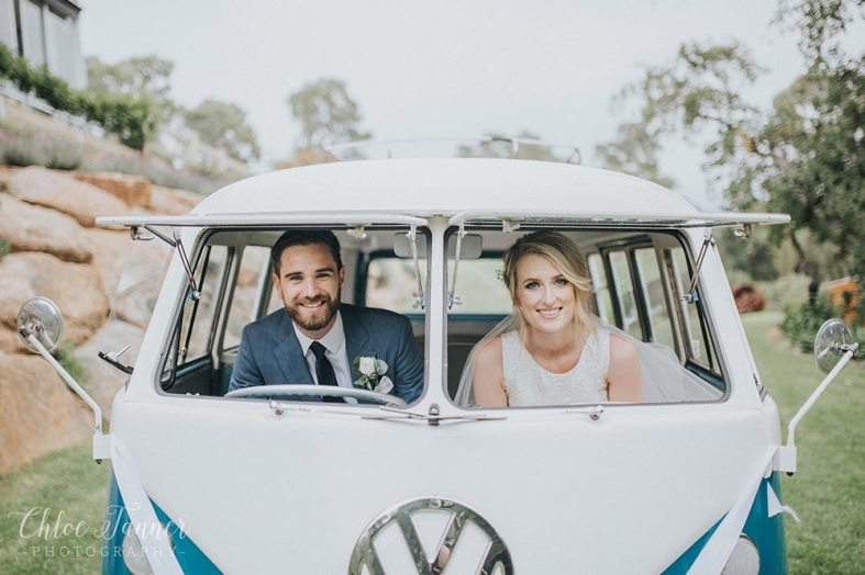 Bride & Groom sitting in front seat of Hire Car, Vintage 1960s Volkswagen Kombi Van in Adelaide, South Australia VW Kombi Van Photo Gallery