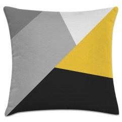 Sofa Cinza E Almofadas Coloridas Order Online Malaysia Capa De Almofada Geometrico Amarelo Preto