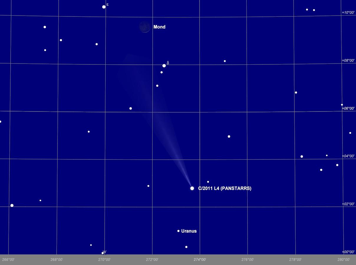 Begegnung der Mondsichel mit Komet Panstarrs am Abend des 13.03.2013