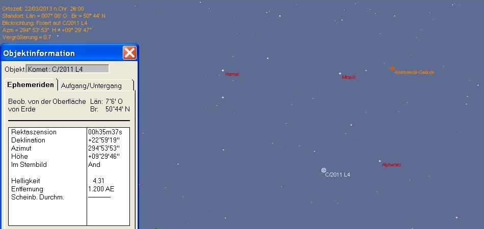 Position von Komet Panstarrs in Bonn am 22.03.2013 zu Ende der nautischen Dämmerung