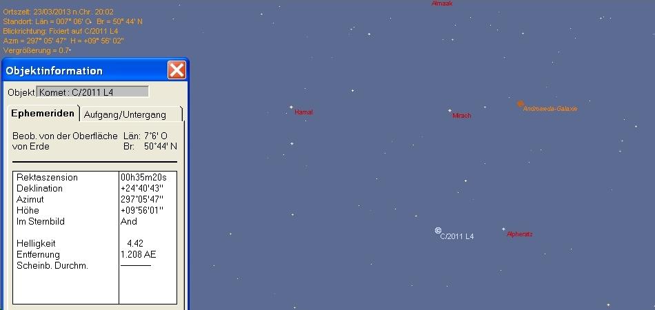 Position von Komet Panstarrs in Bonn am 23.03.2013 zu Ende der nautischen Dämmerung