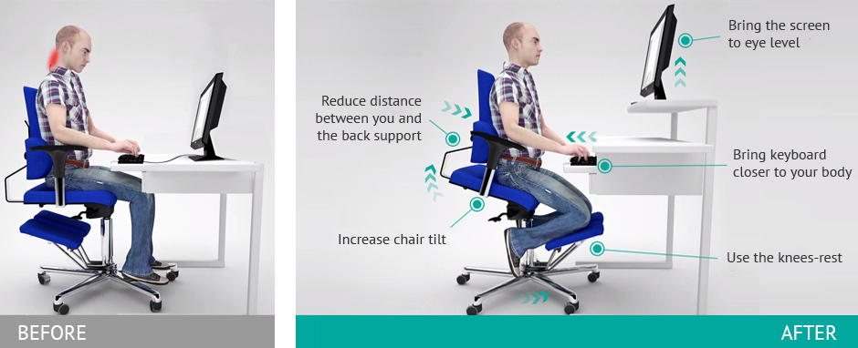 ergonomic chair knee rest teen girl chairs most office komfort every komfortchair customer is entitled to a free postural advice session with our experts help them properly set their workstation