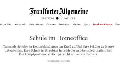 Screenshot eines Artikel in der FAZ zum Thema Homeoffice