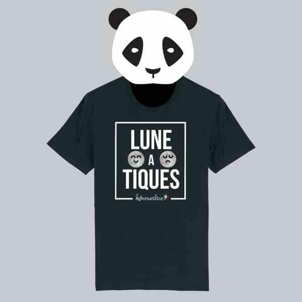 T-shirt noir à manches courtes Lune A Tiques / Lunatique