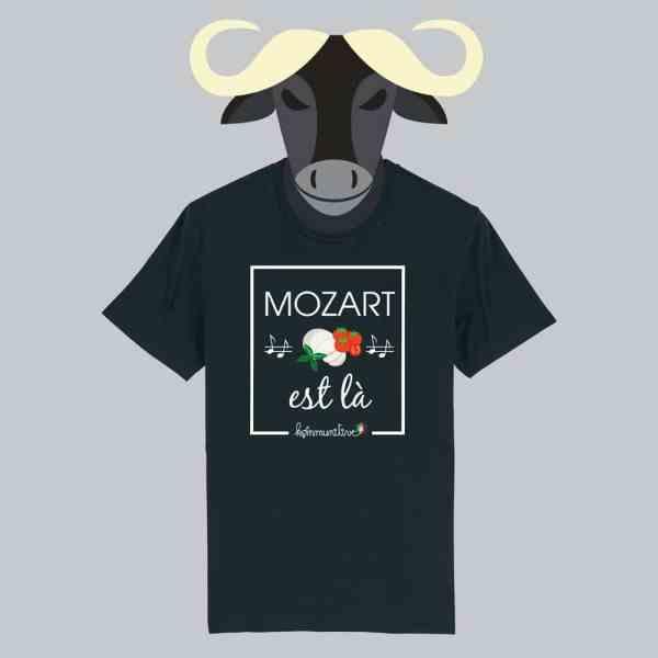 T-shirt noir à manches courtes Mozart est là / Mozarella