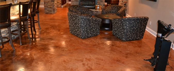 Consider Stained Concrete Floors During Your Basement Finishing Project  Beautiful AND
