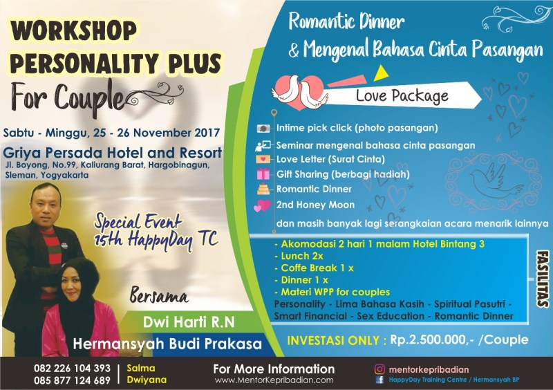 WORKSHOP PERSONALITY PLUS for Couples November 2017