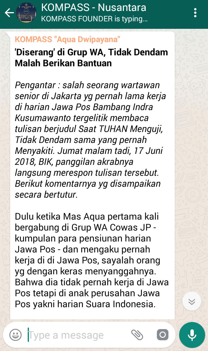 Penyampaian Aqua Dwipayana Pakar SILATURAHIM Indonesia 18 Juni 2018 melalui WAG KOMPASS
