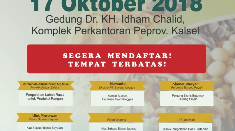 BJ DIUNDANG MENGISI SEMINAR DI WORLD FOOD DAY DI KALSEL 17 OKTOBER 2018