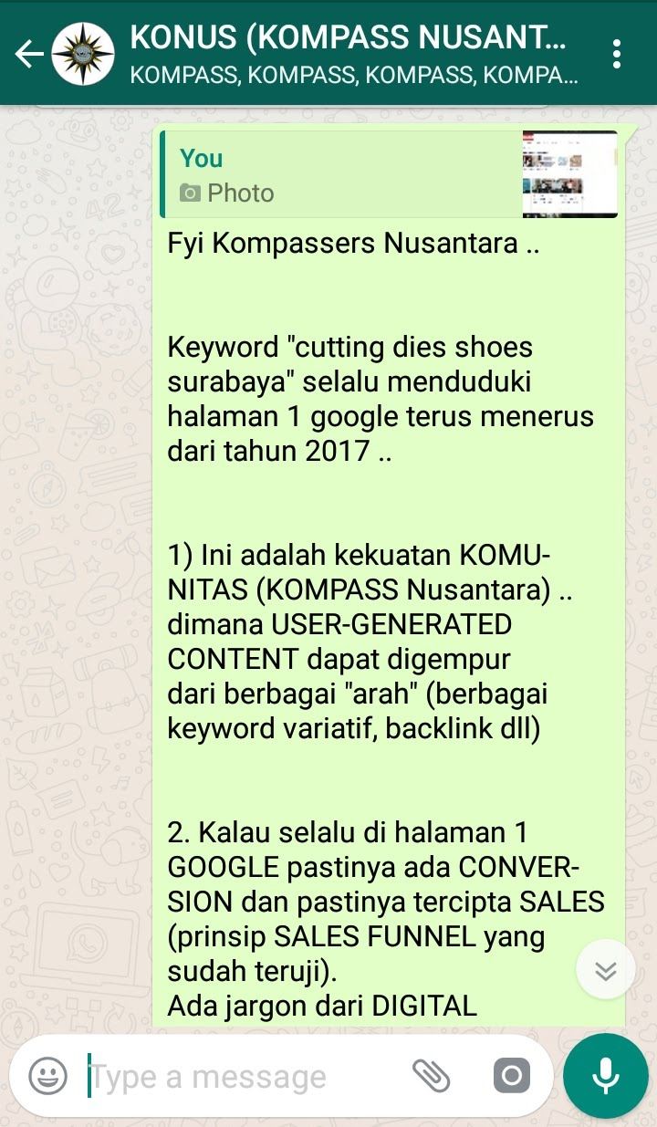 Penyampaian Muhammad Idham Azhari KONUS Digital Marketing 13 Januari 2019 melalui WAG KOMPASS Nusantara