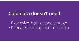 Cold data doesn't need: • Expensive, high-octane storage • Repeated backup and replication