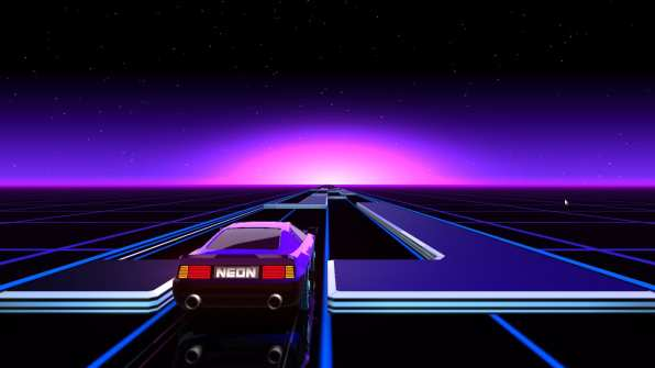 Screenshot of the Neon Drive game on Linux