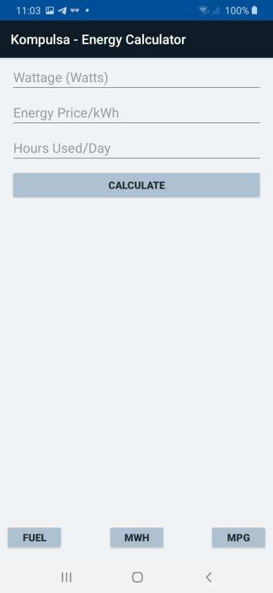 Power Consumption Calculator Screenshot