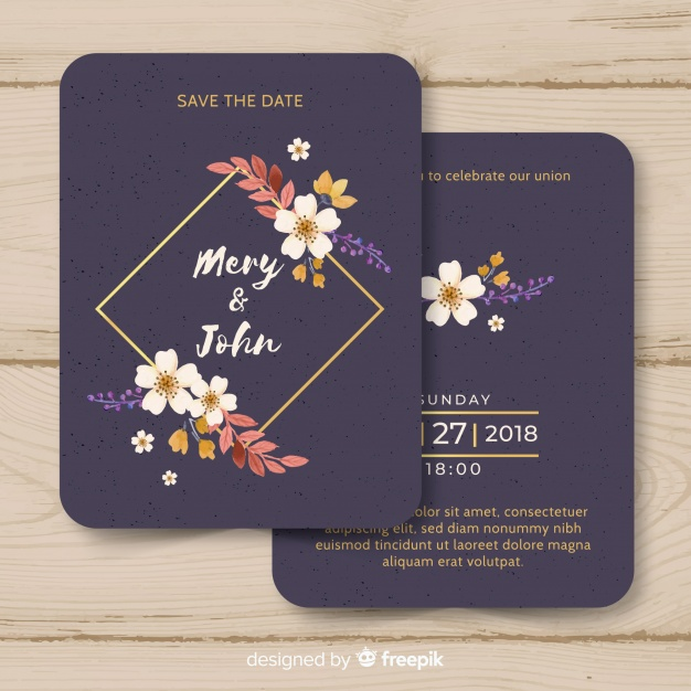 Template undangan pernikahan gold