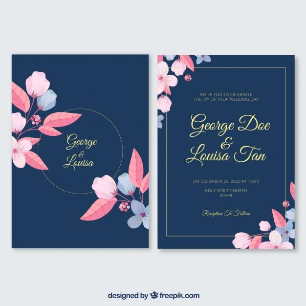 undangan pernikahan dengan bingkai bunga