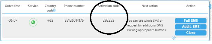 Kode verifikasi WA
