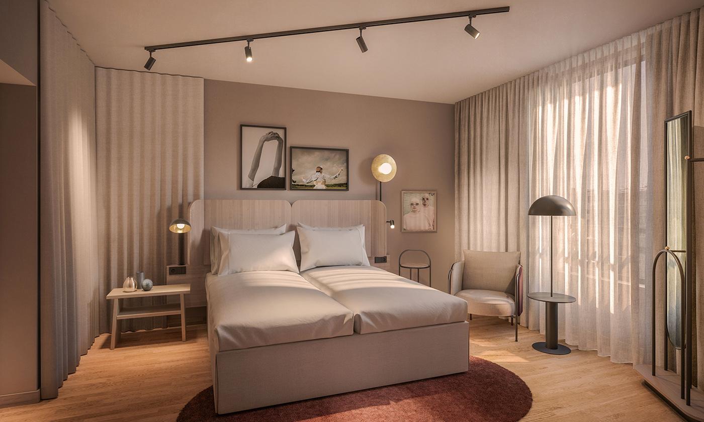 Illustration av ett hotellrum, sängar, dekorativa lampor och inredning